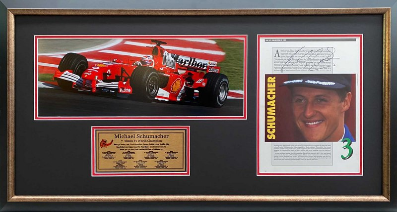 Michael Schumacher Personally Signed Official F1 Year Book, Framed
