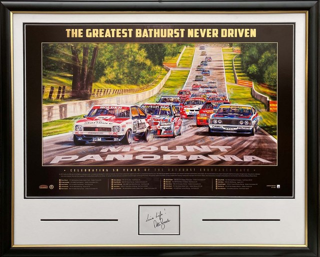 "Peter Brock Personally Signed and Inscribed ""The Greatest Bathurst Never Driven"", Framed"