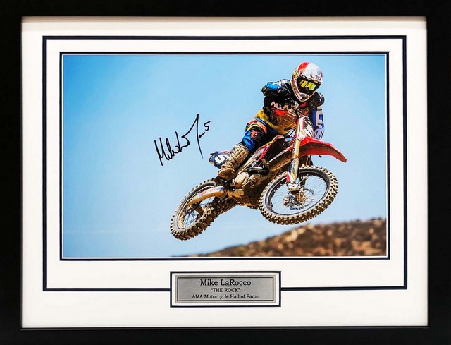 "Mike LaRocco Personally Signed ""MotoX Hall of Famer"", Framed"