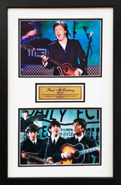 Paul McCartney Hand Signed Photo Tribute, Framed
