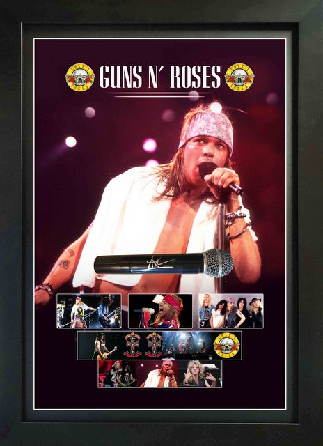 Axl Rose Personally Signed Deluxe Microphone Display, Framed - Guns N Roses