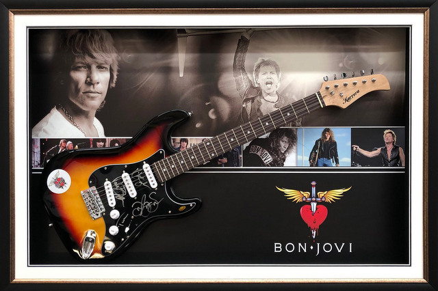 Bon Jovi Hand Signed Guitar, Framed