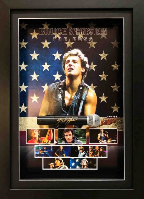 Bruce Springsteen Personally Signed Deluxe Microphone Display, Framed