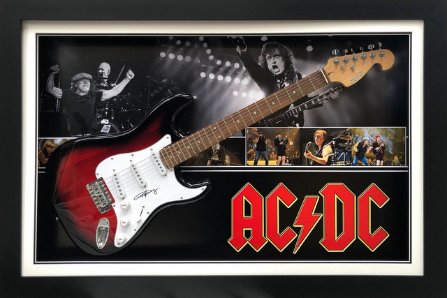 Angus Young Personally Signed Deluxe Guitar Display, Framed - AC/DC