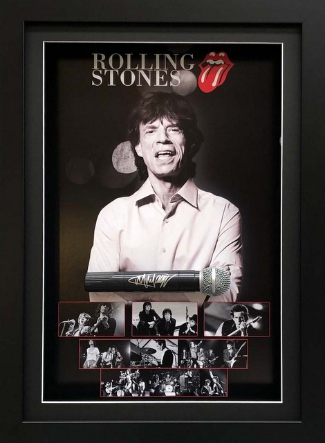 Mick Jagger Personally Signed Deluxe Microphone Display, Framed - The Rolling Stones