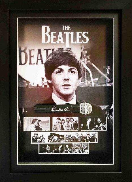 Paul McCartney Personally Signed Deluxe Microphone Display, Framed