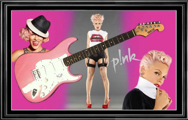 "Alecia Moore "" PINK "" Signed Electric Guitar, Framed"