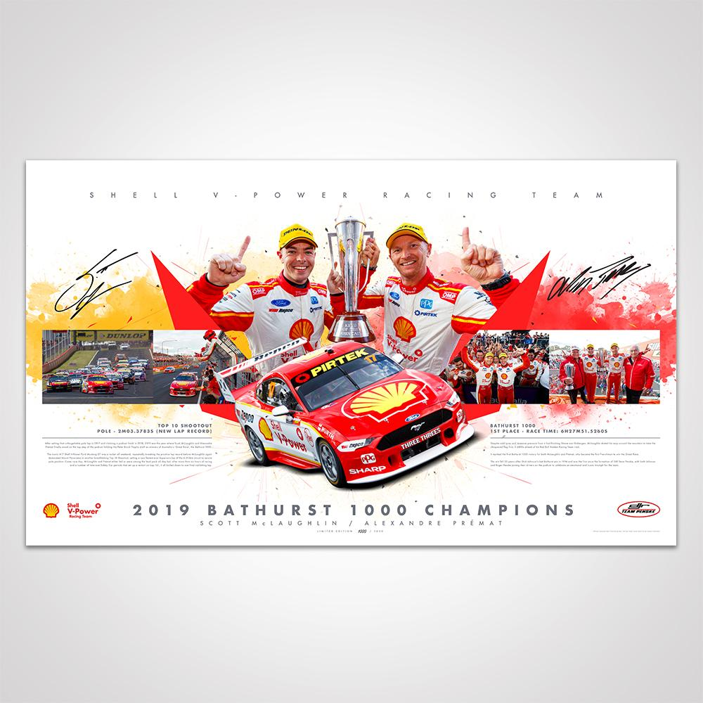 Bathurst 1000 2019 Ford Mustang Victory Lithograph Personally Signed by Scott McLaughlin and Alexandre Prémat, Framed