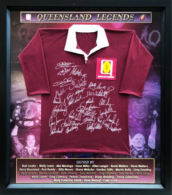 "Queensland ""State of Origin Legends"" Hand Signed by Tallis, Lewis, Walters, Boustead and Others, Framed"