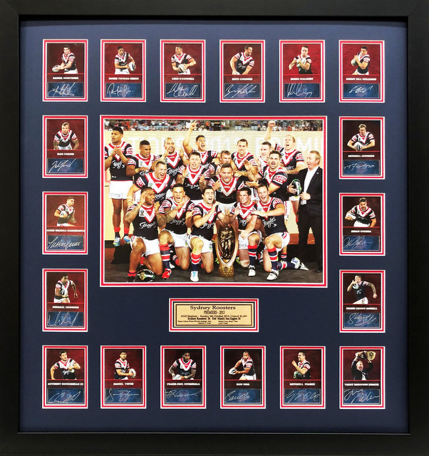 "Sydney Roosters 2013 NRL Premiers Team Signed ""Celebration"", Framed"