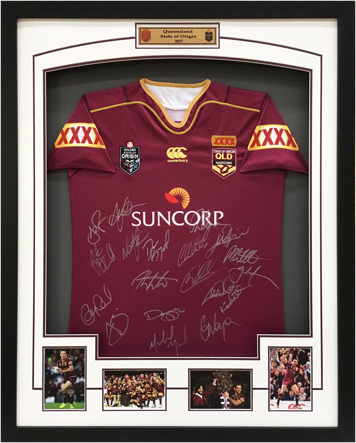 Queensland State of Origin 2017 Official Team and Coach Hand Signed Jersey - Thurston, Cronk, Smith
