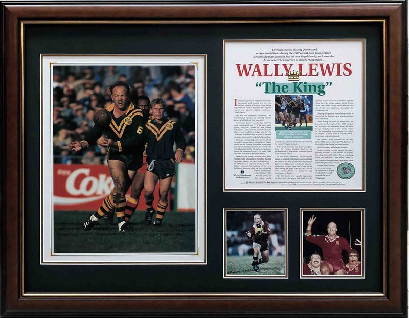 Wally Lewis signed 'The King', Framed