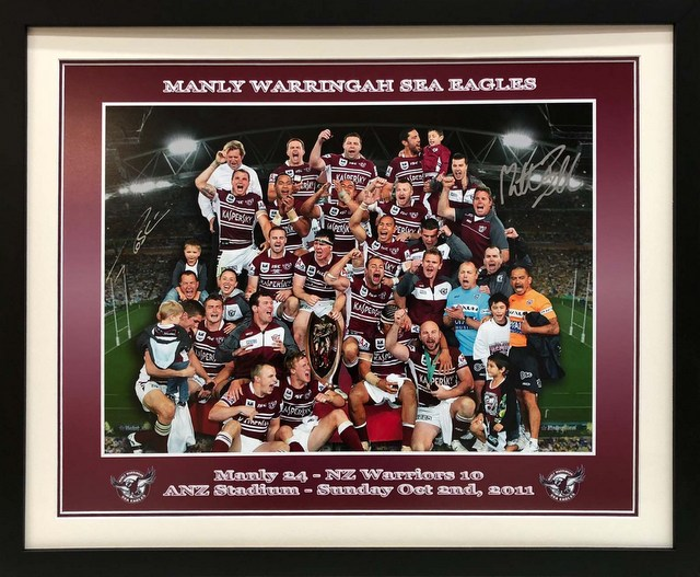 Manly 2011 Premiers Lithograph Personally Signed by Ballin and Robertson