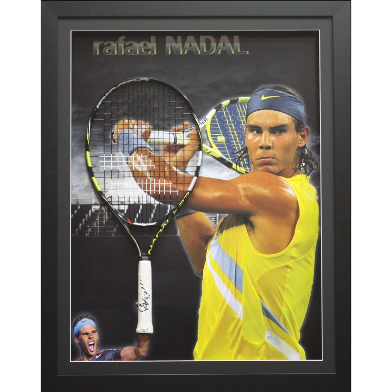 Rafael Nadal signed tennis racquet display, Framed