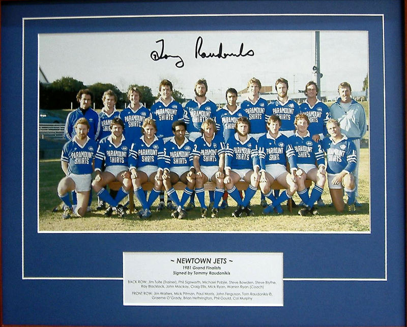Newtown Jets 1981 Grand Final Team - Personally signed by Tommy Raudonikis