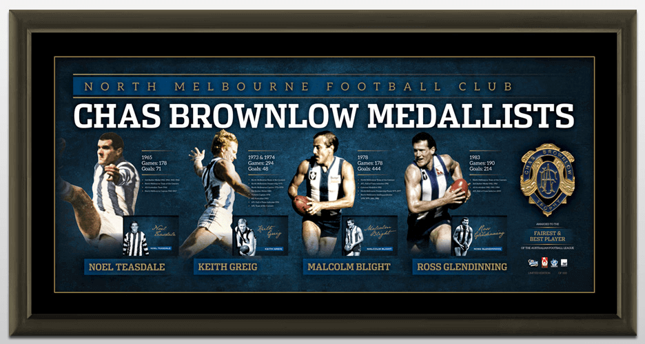 North Melbourne History of the Brownlow Medal Lithograph, Framed, Signed by 4