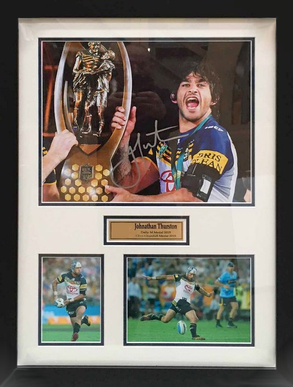 "Johnathan Thurston ""The JT Celebration"", North Qld Cowboys and Qld Origin, Signed, Framed"