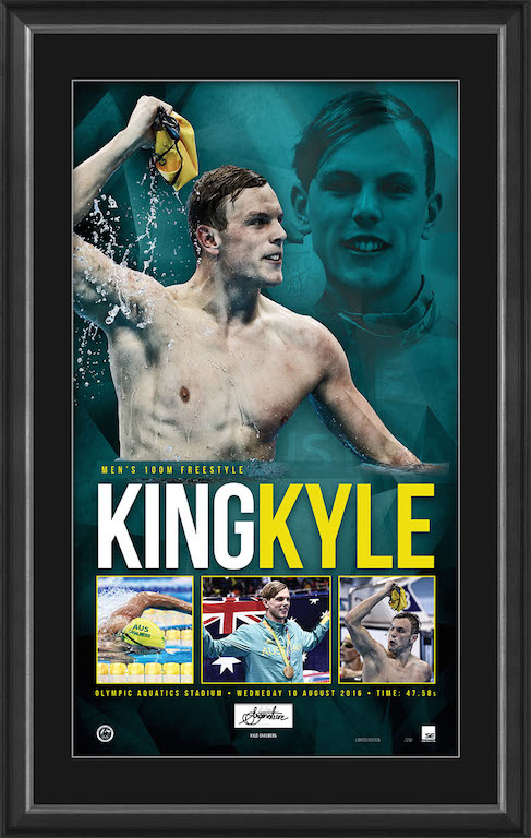 KYLE CHALMERS – 100M FREESTYLE OLYMPIC CHAMPION PERSONALLY SIGNED GOLD MEDALLIST LITHOGRAPH
