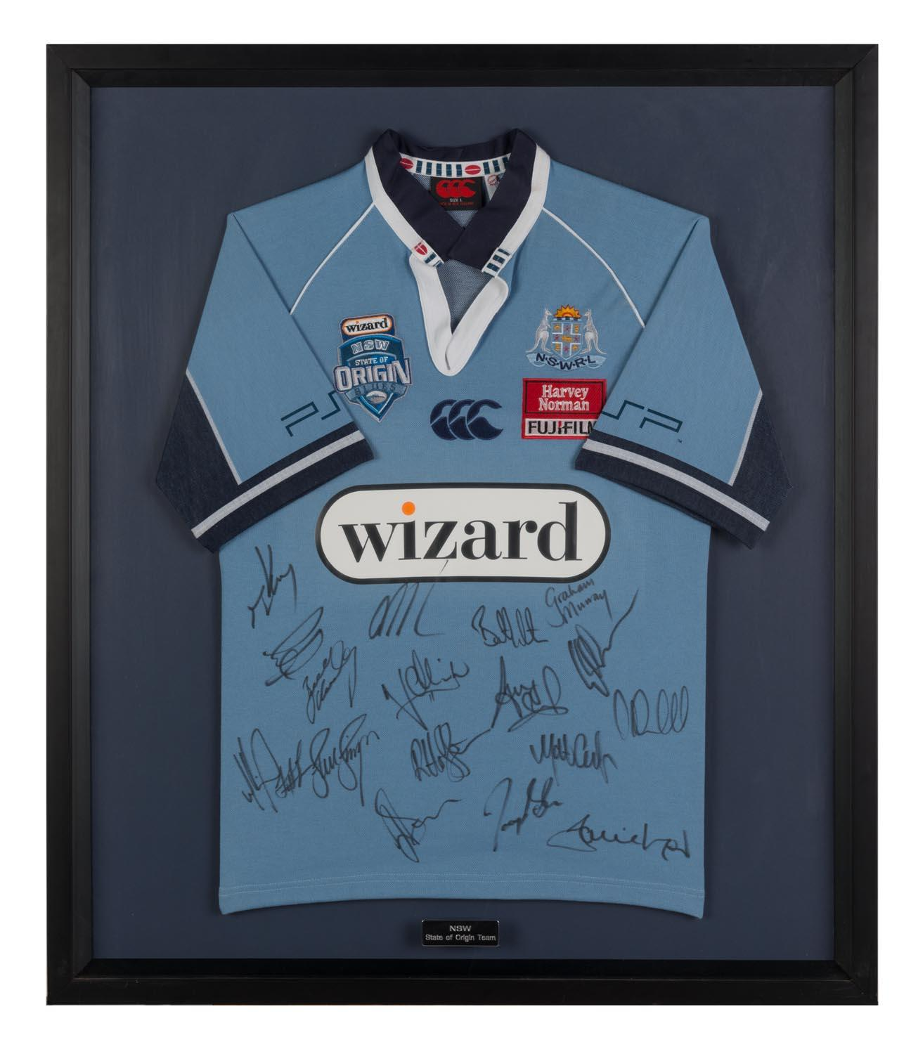 NSW 2006 State of Origin Team & Coach Signed Jersey, Framed
