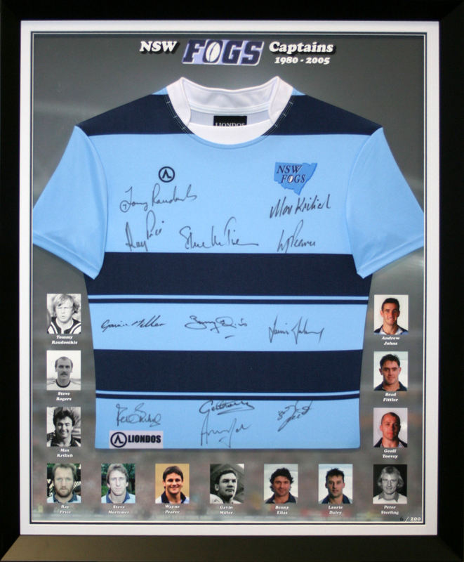 NSW Origin Captains Jersey Hand Signed by 11 Legends, Framed - From the Personal Collection of Max Krilich