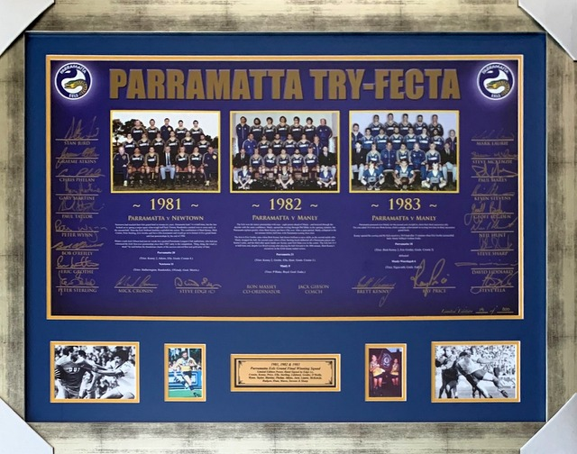 "Parramatta Eels Premiership ""Try Fecta"" Display Signed by 22 Legends - Price, Kenny Cronin, Grothe, Ella..."