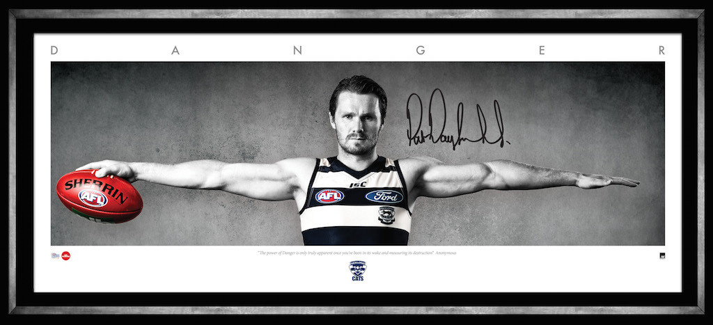 "'DANGER' – Patrick Dangerfield Personally Signed ""Wings"", Framed, Geelong Cats"
