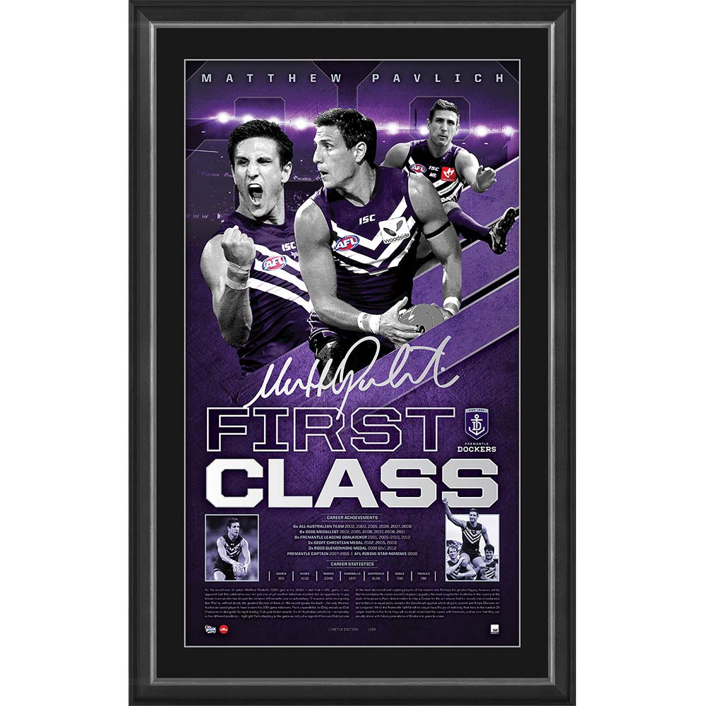 """First Class"", Matthew Pavlich Fremantle Dockers Career Tribute Lithograph, Framed"