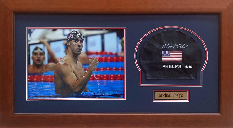 Michael Phelps - Greatest Olympian in History - Hand-Signed Swimming Cap and Photo Collage, Framed