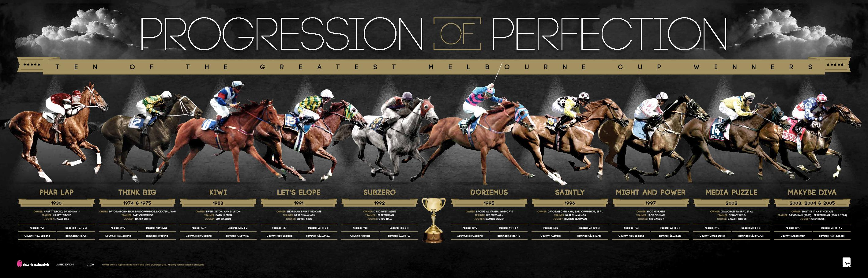 Progression of Perfection - Melbourne Cup Edition Sportsprint, Framed