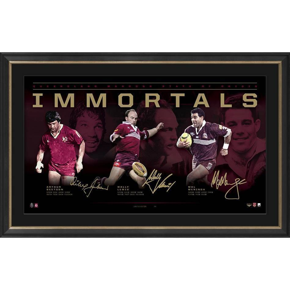Queensland Signed Official NRL Immortals Print Framed Wally Lewis Mal Meninga Beetson