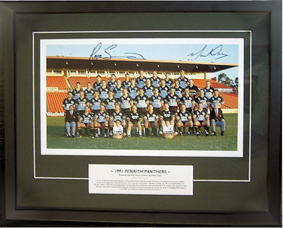 Penrith Panthers 1991 Premiership Team Personally signed by Royce Simmons and Mark Geyer, Framed