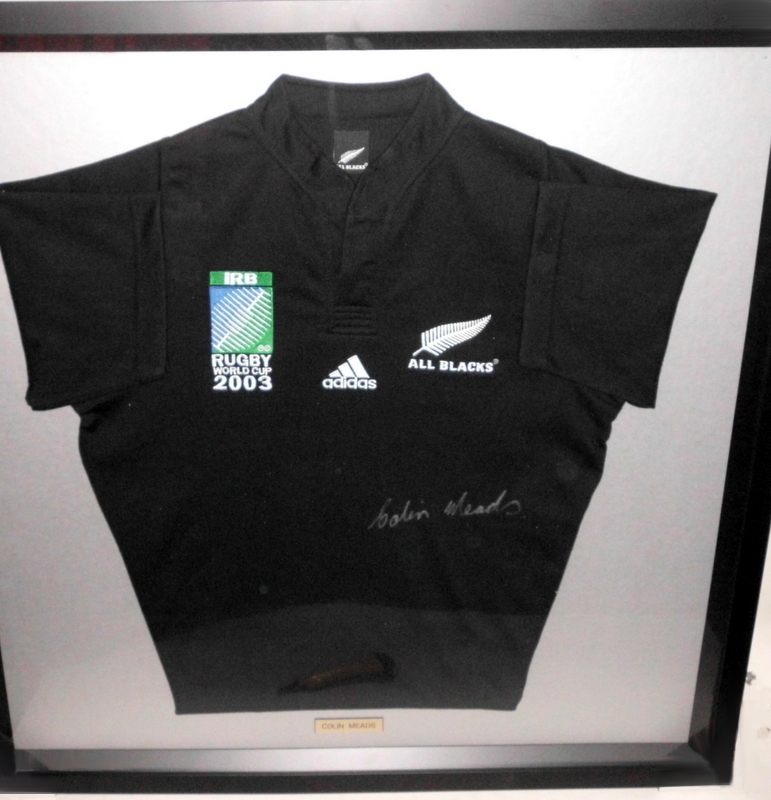 All Blacks World Cup 2003 Jersey Personally Signed by Colin Meads, Framed