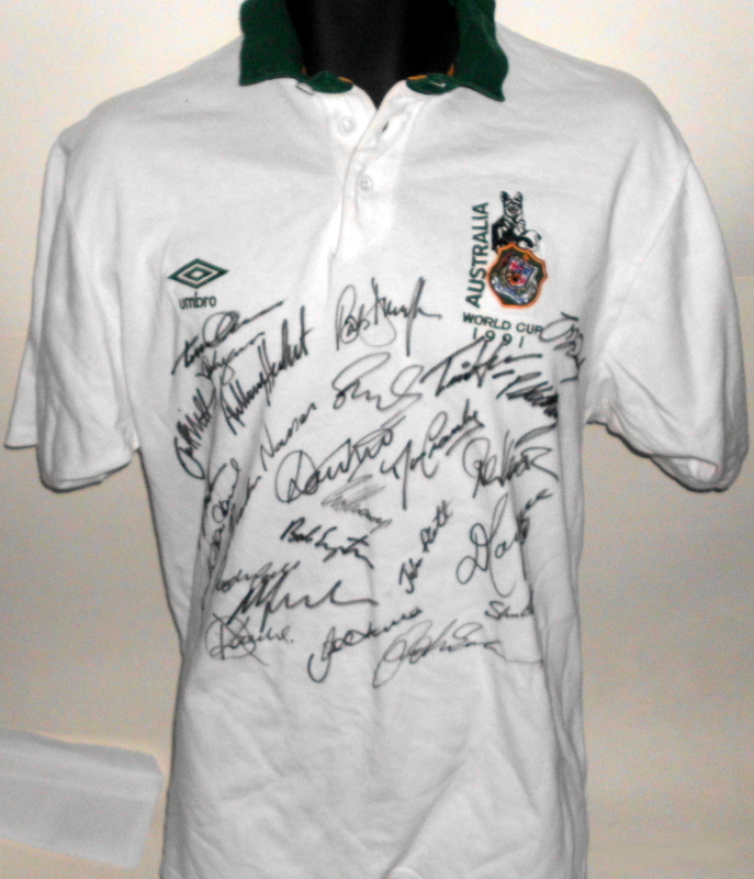 1991 Australian Wallabies RWC Victory Team-Signed Jersey - Campese, Farr-Jones, Eales