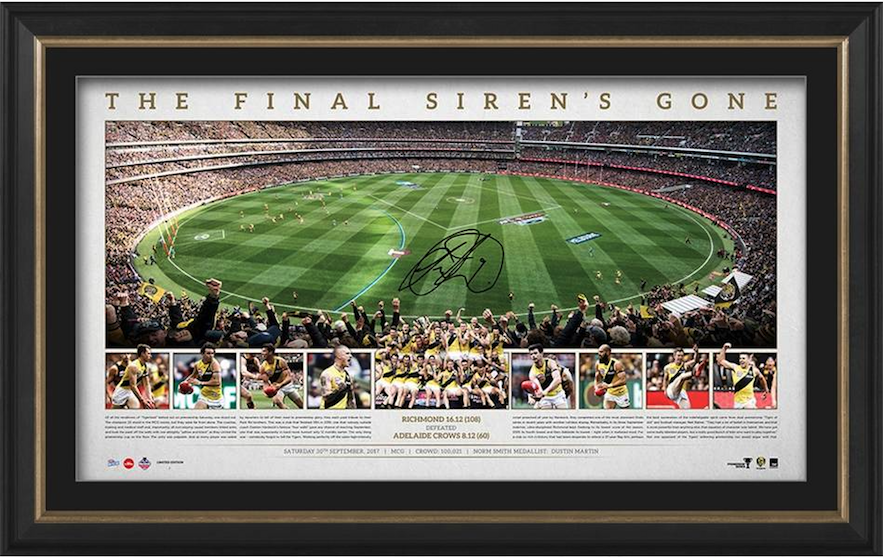 Richmond Tigers 2017 AFL Premiers Signed MCG Ground Shot Panoramic Framed