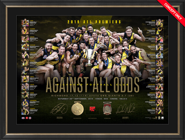 Richmond Tigers 2019 AFL Premiers Dual Signed Lithograph, Framed