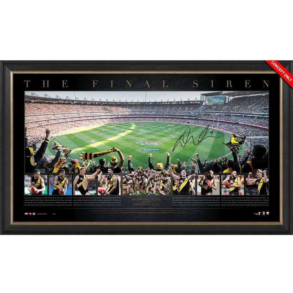 "Richmond 2019 AFL Premiers Personally Signed Dustin Martin Panoramic Frame ""THE FINAL SIREN"""