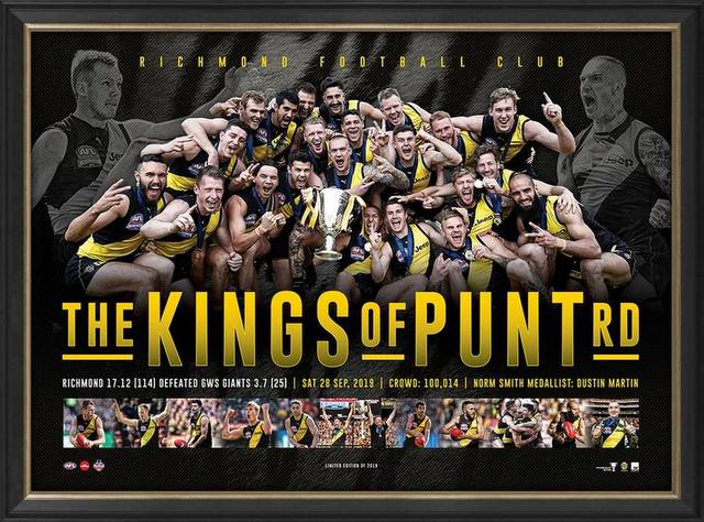 "Richmond ""Kings of Punt Road"" 2019 AFL Premiers Sportsprint, Framed"