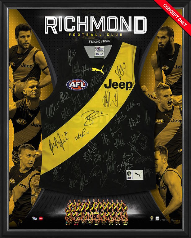 Richmond Tigers 2017 Squad Signed Guernsey, Framed