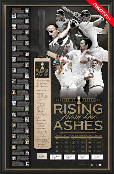 Rising From the Ashes Cricket Bat, Framed, Personally Signed by 30 Incl Smith, Bradman, the Waughs