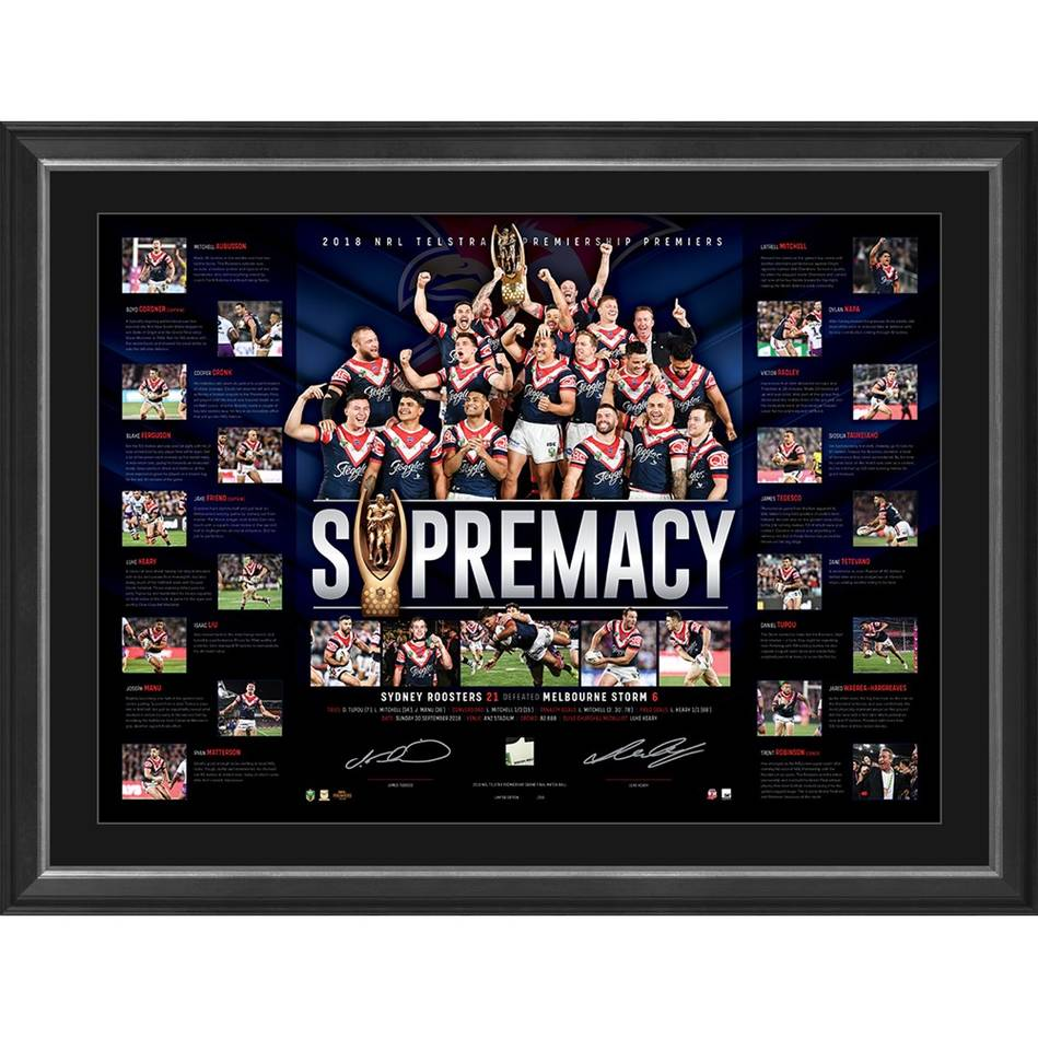 Sydney Roosters 2018 Premiers Dual Signed Lithograph, Framed -