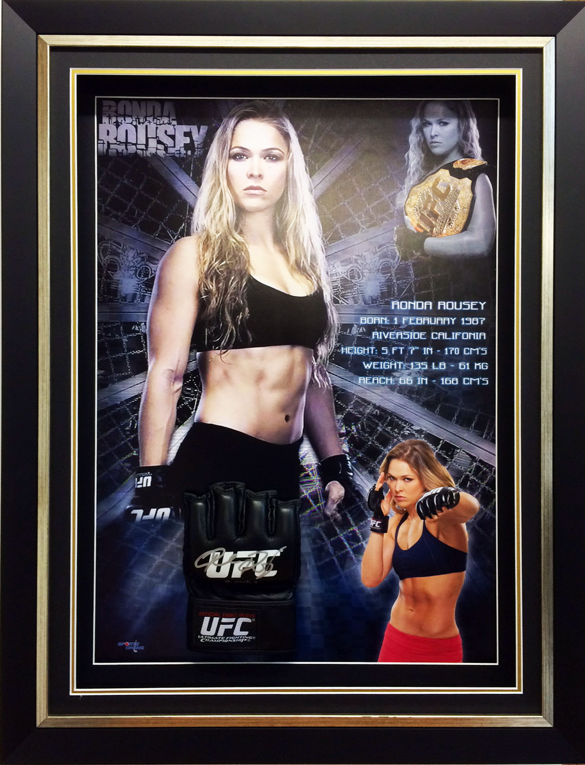Ronda Rousey Personally Signed UFC Glove, Framed