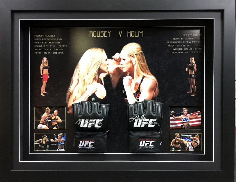 "Ronda Rousey & Holly Holm ""Gladiators"", Hand-Signed UFC Gloves, Framed"