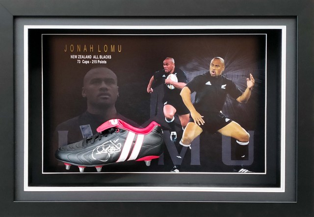 Jonah Lomu, New Zealand All Blacks, Personally Signed Rugby Boot