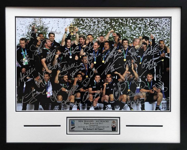 New Zealand All Blacks 2011 Rugby World Cup Victory Squad Signed Poster, Framed