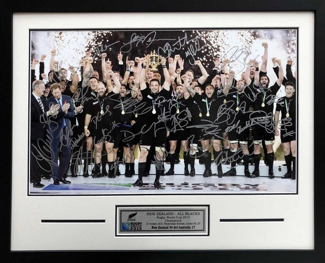 New Zealand All Blacks 2015 Rugby World Cup Victory Squad Signed Poster, Framed