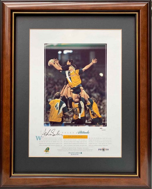 "John Eales, Australian Wallabies, Personally Signed ""Eales - Altitude"", Framed"