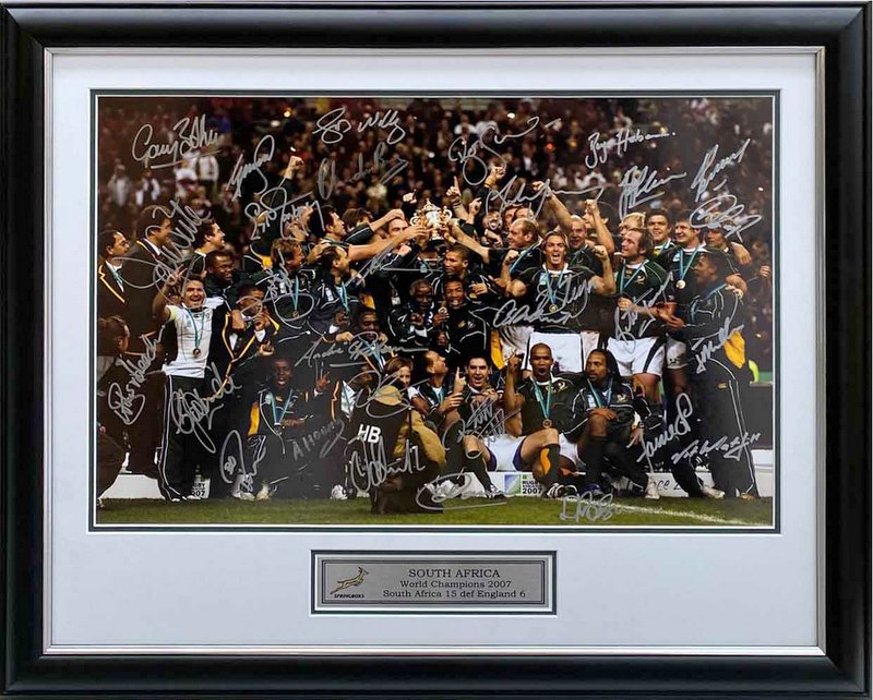 South Africa 2007 RWC Champions Team Signed Celebration Photo, Framed