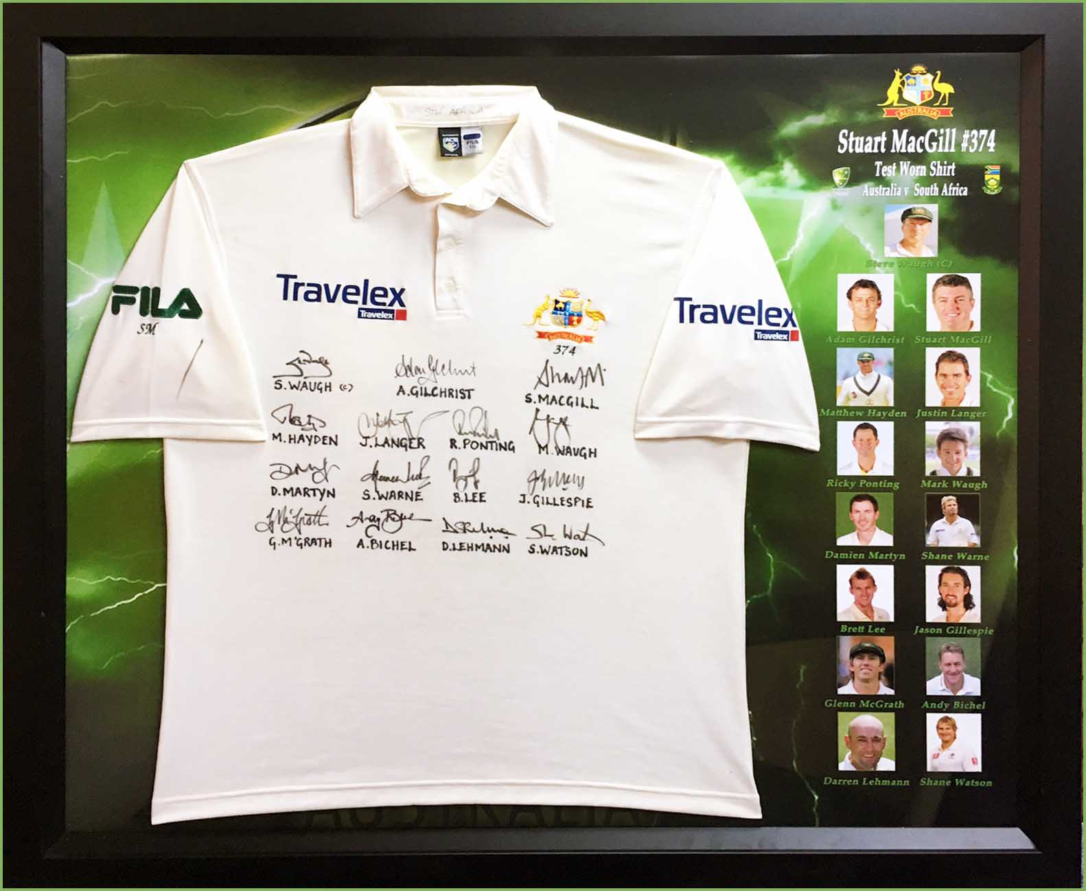 Stuart MacGill 2002 South African Tour Test-Worn Shirt, Team Signed - Day 3