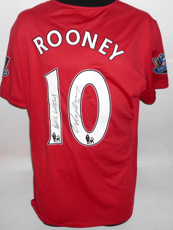 Wayne Rooney Match Worn and Personally Signed and Inscribed Manchester United Jersey