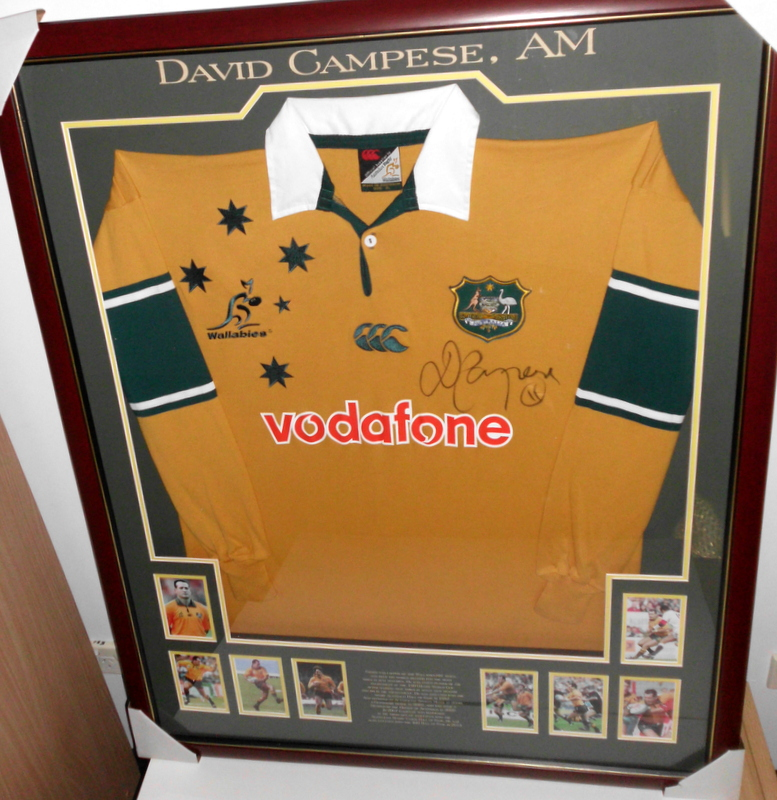David Campese Personally Signed Wallabies Jersey, Framed